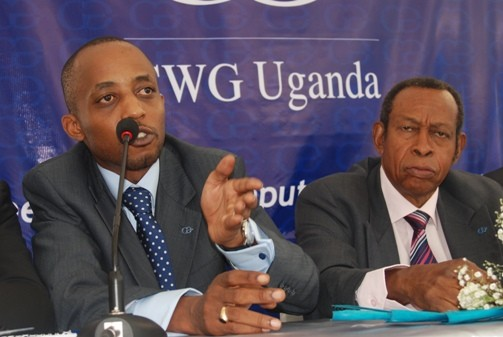 Computer Warehouse Group - Country Manager Uganda, Michael Manzi and CWG Chairman Board of Directors Chief Willie Belonwu speaking at the launch of CWG Uganda on 29th Oct 2010