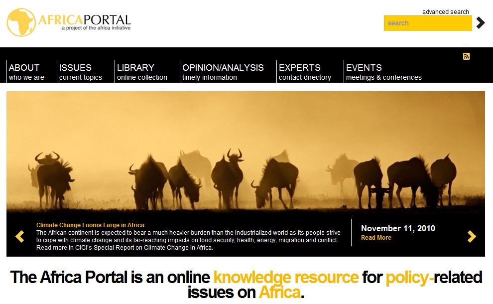 A screenshot of the portal homepage