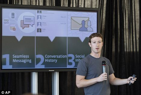 Mark Zuckerberg unveils Facebook's new messaging service in San Francisco. Seen as a direct rival to Google's Gmail, it integrates all web and text-based communications and works instantaneously