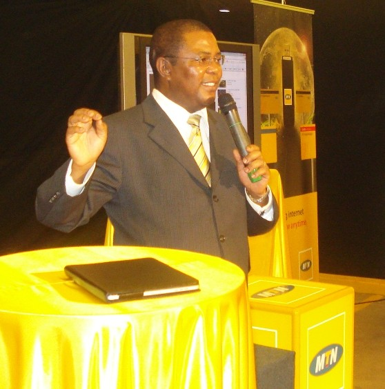 MTN Uganda CEO Themba Kumhalo addressing press earlier in the year (FILE PHOTO)