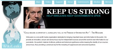 Homepage of Wikileaks
