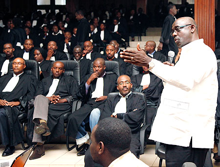 High Court president, Johnstone Busingye, trains lawyers in using EFS