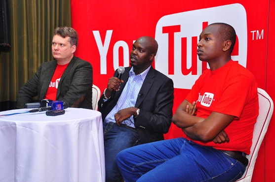 Google Uganda Country Manager, Ham Namakajjo (Centre) with the some members of the Google team at the Press Conference in Kampala. [File Photo]