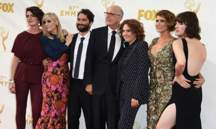 (L-R) Gaby Hoffmann, Judith Light, Jay Duplass, Jeffrey Tambor, Jill Soloway, Amy Landecker, and Alison Sudol of the Amazon show