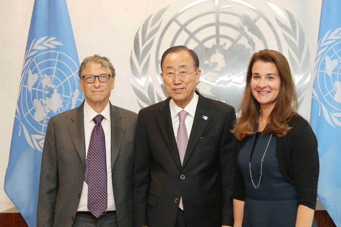 Bill Gates (left) and Melinda Gates (right) with UN secretary-general Ban Ki-moon meet in New York. AFP: Getty Images/Jemal Countess