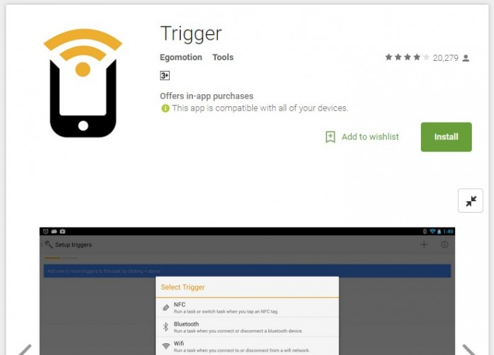Trigger is available on Play Store