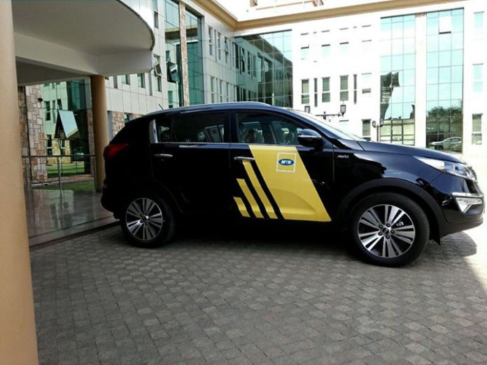 One of the cars that MTN is giving away in the Promo parked outside the MTN Nyonyi Gardens Office