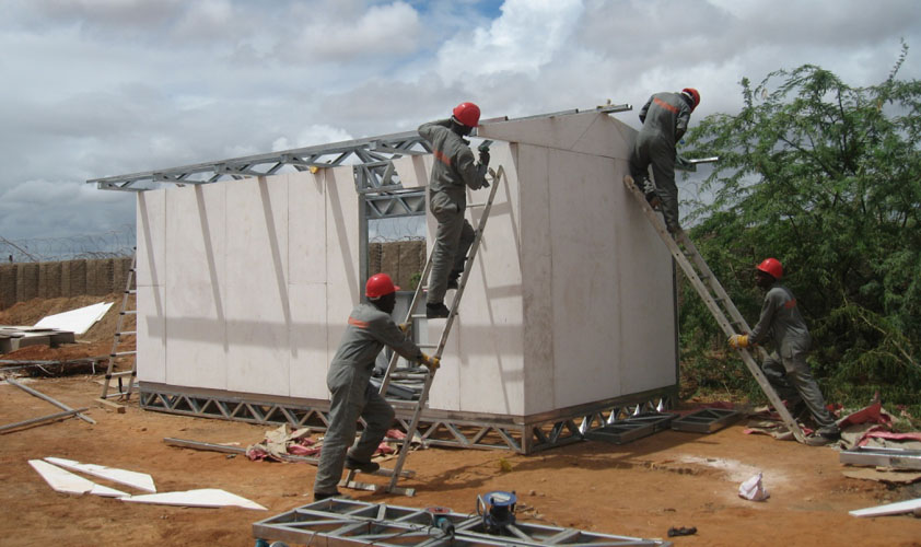 Solar Classroom under construction in Dadaab Kenya - World's Largest Refugee Camp. Photo by Martin Muckle