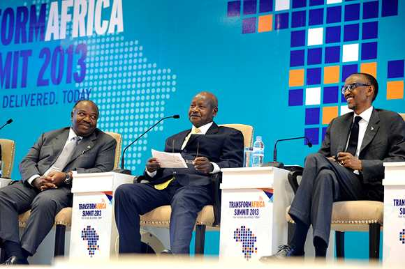President Museveni of Uganda addresses participants as President Kagame and President Ali Bongo Ondimba of Gabon look on at the Transform Africa Summit 2013. Image Credit: RwandaExpress