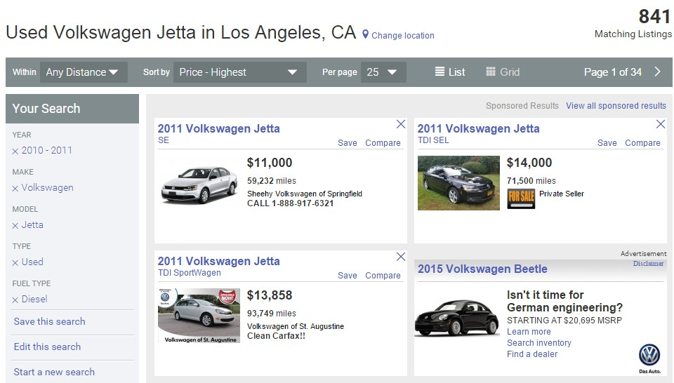 Some of the diesel VW cars listed on AutoTrader