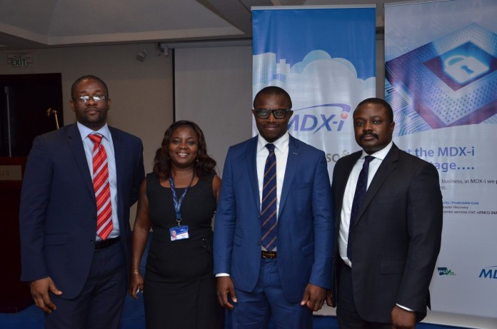 L-R: Okey Iroegbu, Head, IT Delivery, Stanbic IBTC; Bunmi Ogun, Head, Enterprise Business, MainOne; Idris Musa, Head, Technology, Oando Plc and Damola Solanke, Head, Technical Solutions, MainOne, during the joint Business Session in Lagos