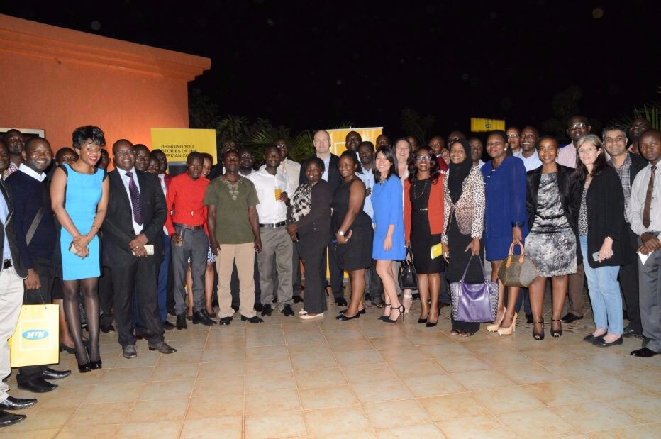 A group photo after the launch of the Africa View app at Kampala Serena Hotel