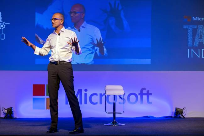 Microsoft chief Satya Nadella in Mumbai meeting industry leaders.Image Credit: VWmin