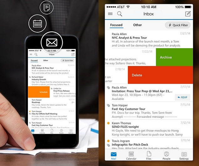 Outlook app integrates Office 365, Outlook.com, Apple's iCloud, Gmail, and Yahoo Mail with a built-in calendar. Image Credit: NDTV