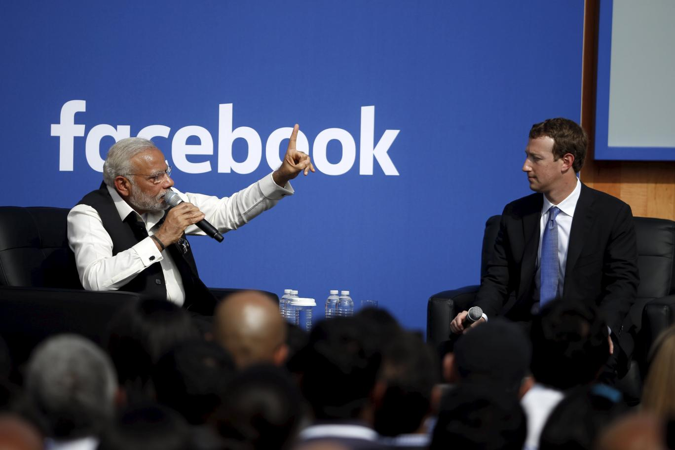 Earlier this year, Indian Prime Minister Narendra Modi (Left) visited the Facebook headquarters in Menlo Park, California, United States for a TownHall Q&A. Image Credit: Independent