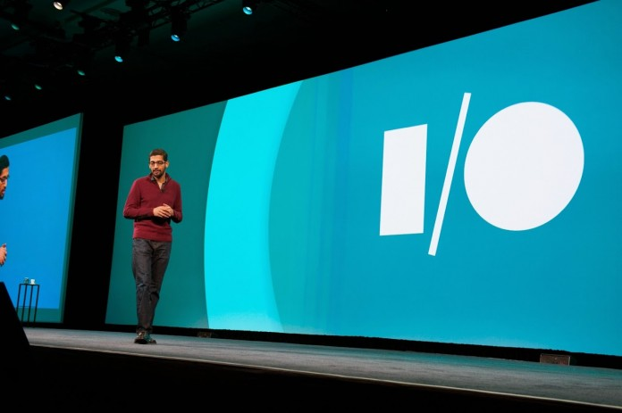 Sundar Pichai CEO of Google attending to more than 6000 developers at their 8th annual Google I/O developer conference in San Francisco on May 28, 2015. Image Credit: AndroidLife