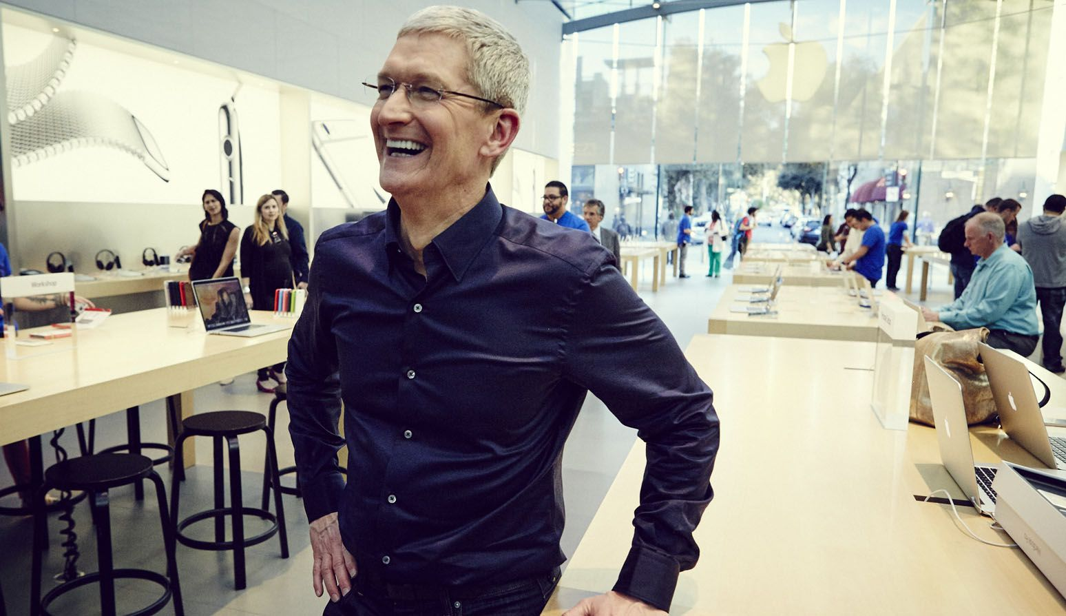 Apple Inc CEO Tim Cook at one of their Apple Labs in California, United States. Image Credit: FortuneDotCom