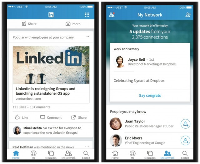 The new LinkedIn App which was first previewed in October later this year makes it look more like Facebook, however the company released a redesigned version of it on Tuesday. Image Credit: Mshcdn