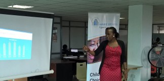 Faith Kyateka, the Hotline and PR specialist at Mariestopes Uganda addressing the gathering yesterday.