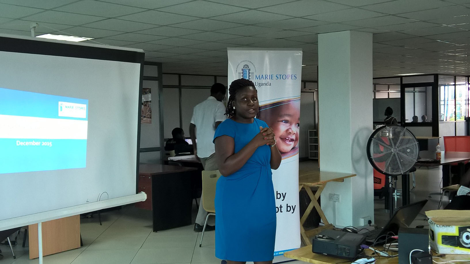 Hive Colab Director, Barbra Birungi welcoming guests at the launch of the Challenge.