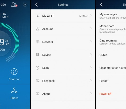Some screenshots from the Huawei HiLink Smartphone app. The app even notifies you on your phone when the MiFi battery runs low.
