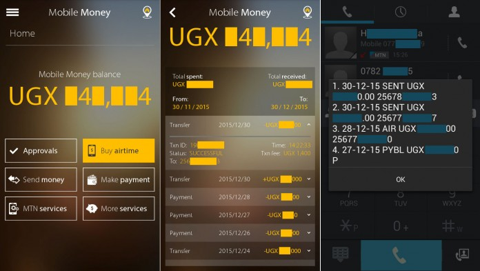 Screenshots from the MyMTN app, (left and centre) compared with the USSD interface on the right.