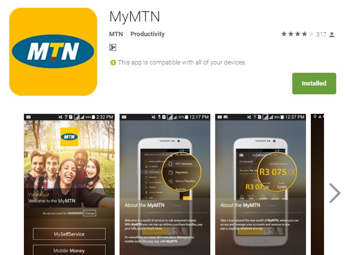 The MyMTN app is available for Android, iOS, Windows Phone and Blackberry