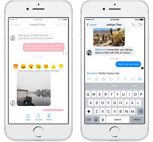Facebook Messenger - Reaction and Mention rolling out globally. Image Credit: Facebook Newsroom