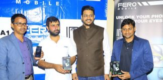 In Pictorial (Left to Right): Siddaraju Madhugiri; Uganda Sales Head Manager at MiDCOM, Shyam Kotecha; Director, Vickram Gopaal; Business Head & Suhaib Pervez; Marketing Manager, pose for a group photo during the launch of the FERO mobiles at Golf Course Hotel on Friday, 10th March, 2017. Image Credit: MiDCOM