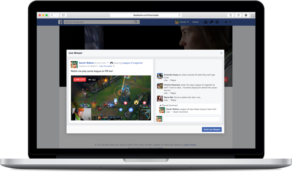 The Facebook Live for Desktop/Laptops makes it easier than ever to stream your PC gameplay to friends and followers and engage with them while you play. Image Credit: Facebook Newsroom