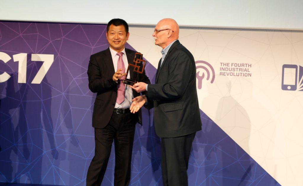 Huawei accepting the Best Mobile Infrastructure award at Mobile World Congress 2017 in Barcelona.