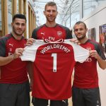 (From Left to Right) - New signing, 1st XI defender, Sead Kolasinac; Arsenal Club Captain, Per Mertesacker; 1st XI midfielder and Arsenal Academy graduate, Jack Wilshere.