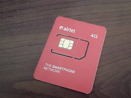 Airtel 4G simcard. (Photo Courtesy)