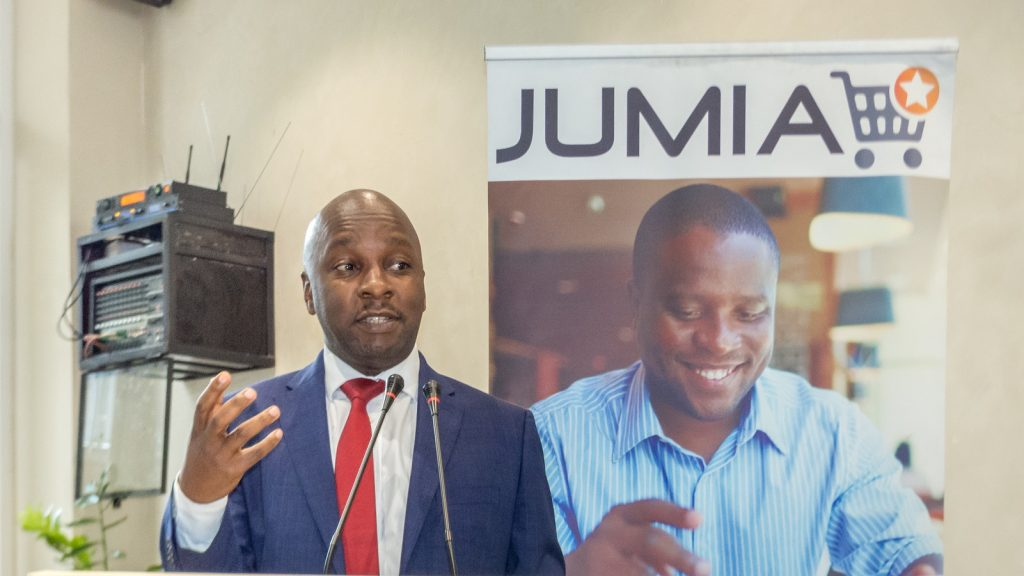 Peter Kahiigi; Director eGovernment services at NITA-Uganda speaking at the 2nd annual Jumia Mobile Report at the Skyz Hotel in Kampala, Uganda on Thursday 15th, March 2018. (Photo by: Nathan Ernest Olupot)