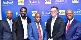 (L-R) Charles Kie, Managing Director, Ecobank Nigeria Ltd; Serigne Dioum, MTN's Executive, Mobile Financial Services; Ade Ayeyemi, Group CEO, Ecobank Transnational Incorporated (ETI), Rob Shuter, group CEO of MTN and Patrick Akinwuntan, Group Executive, Ecobank Transnational Incorporated (ETI).