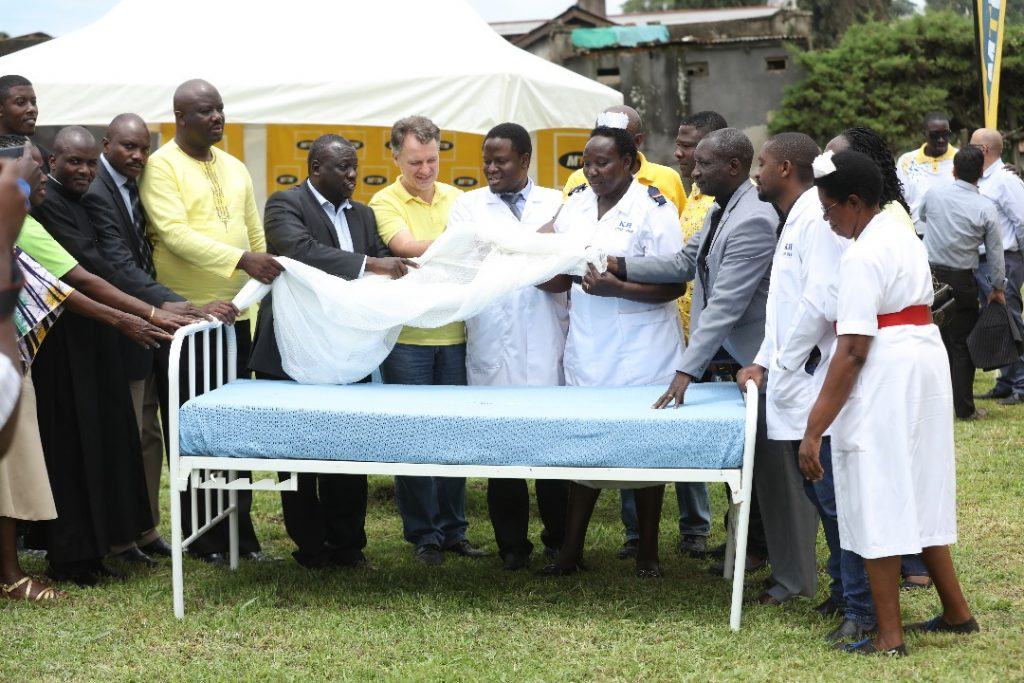 MTN Uganda's CEO, Wim Vanhelleputte pictured handing over hospital equipment's' to the staff hosiptal on Friday 20th, April 2018.