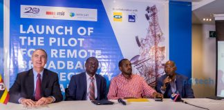 (L - R): Intelsat CEO; Stephen Spengler, Patrick Masambu, Director-General of ITSO, Frank K. Tumwebaze; Minister of ICT and National Guidance in Uganda, and Godfrey Mutabazi, Executive Director of the Uganda Communications Commission pictured at the launch of the pilot project for remote broadband connectivity in rural areas of Uganda on Friday 4th, May 2018 at UCC Head Offices in Bugolobi, Kampala, Uganda.
