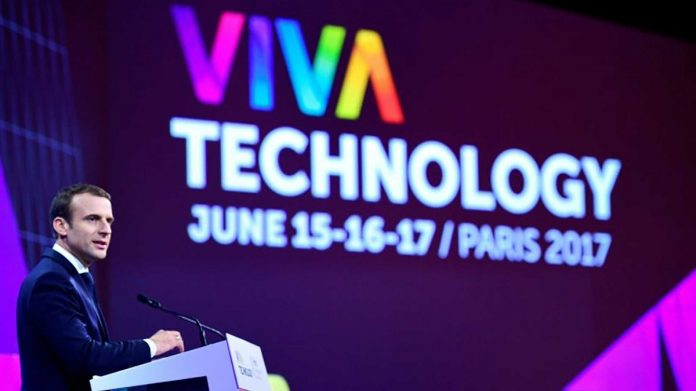 H.E the President of France; Emmanuel Macron speaking at the VivaTech conference held in Paris last week. (Photo Courtesy)