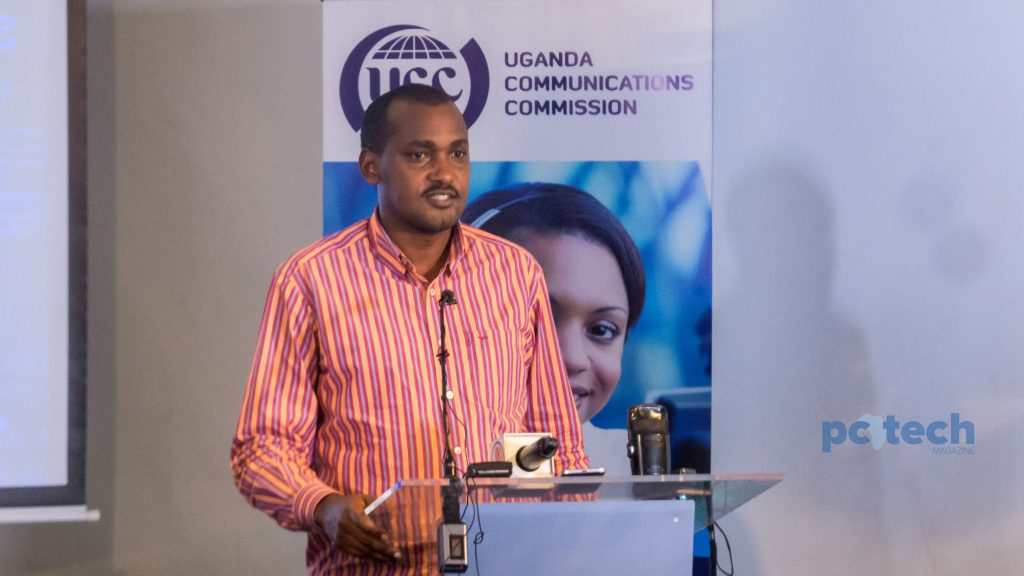 Frank K. Tumwebaze; Minister of ICT and National Guidance speaking at the launch of the pilot project for remote broadband connectivity in rural areas of Uganda on Friday 4th, May 2018 before he officially launched the program.