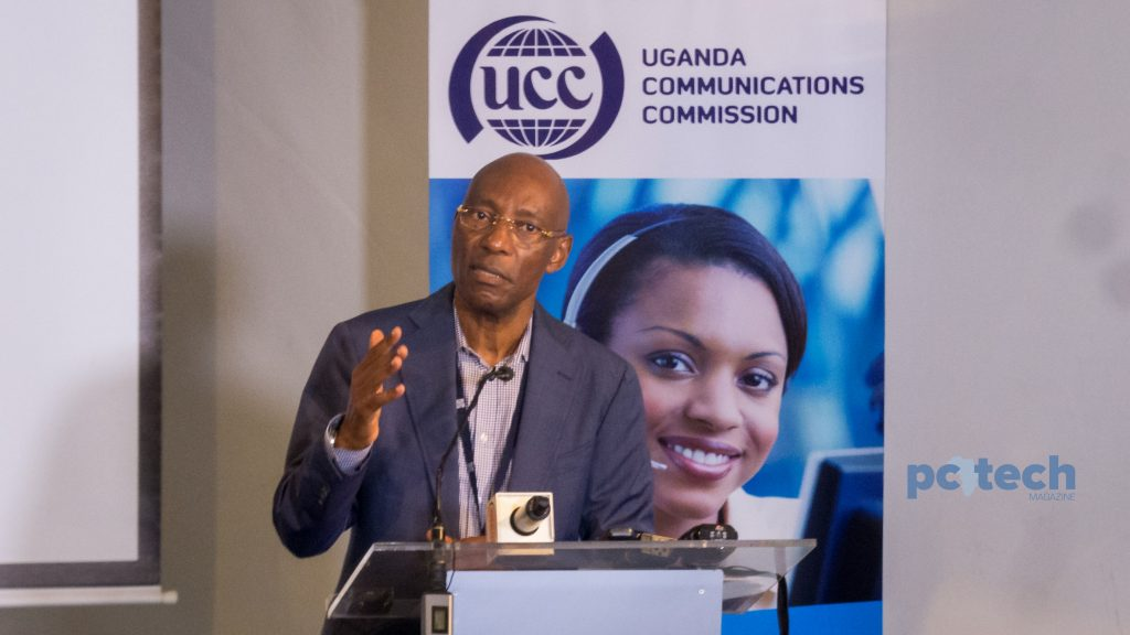 Godfrey Mutabazi, Executive Director of the Uganda Communications Commission speaking at the launch of the pilot project for remote broadband connectivity in rural areas of Uganda on Friday 4th, May 2018.