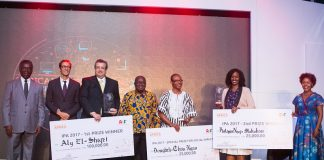 Winners of the 2017 Innovation Prize for Africa: Aly El-Shafei (3rd from Left - Grand Winner), Dougbeh-Chris Nyan (5th from Left - Social Impact Award Winner), and Philippa Ngaju Makobore (2nd from Right - Second Prize Winner)(Photo Credit: Disrupt Africa)