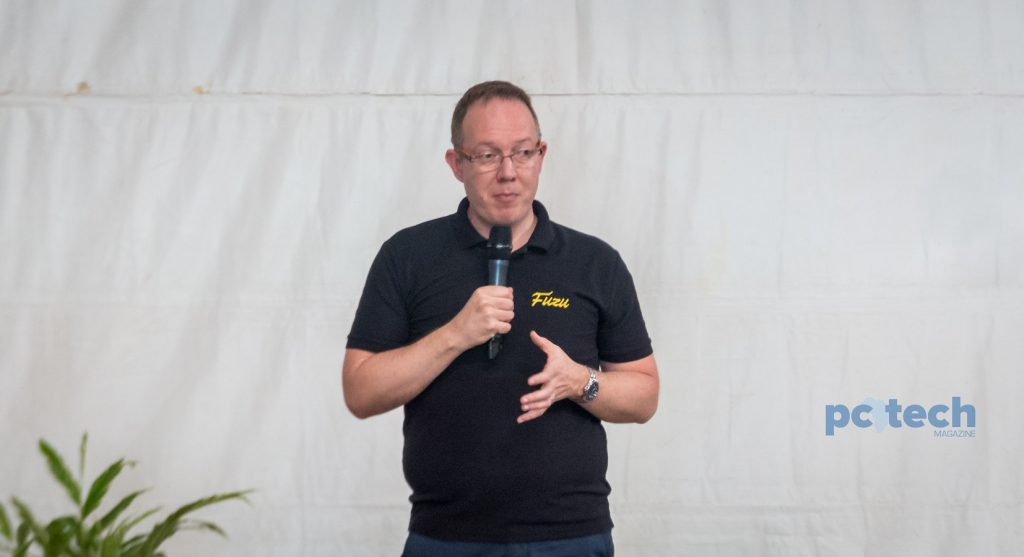 FUZU Limited CEO; Jussi Hinkkanen speaking the offical launch of Fuzu Uganda, at the Design Hub Kampala on Thursday 17th, May 2018.
