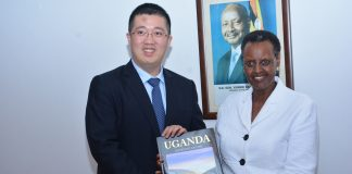 Mr. Liu Jiawei and the First Lady; Janet K. Museveni flaging off ten Ugandan ICT Students to undergo a two-weeks hands on ICT training in China under Huawei's Seeds for the Future program. The flagging off ceremony was held at State House Nakasero on Thursday 3rd, April 2018.