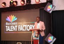 Gerald Sserunjogi, President Uganda Producers Association makes his speech at the launch of the MultiChoice Talent Factory in Kampala, Uganda on Wednesday 30th, May 2018.