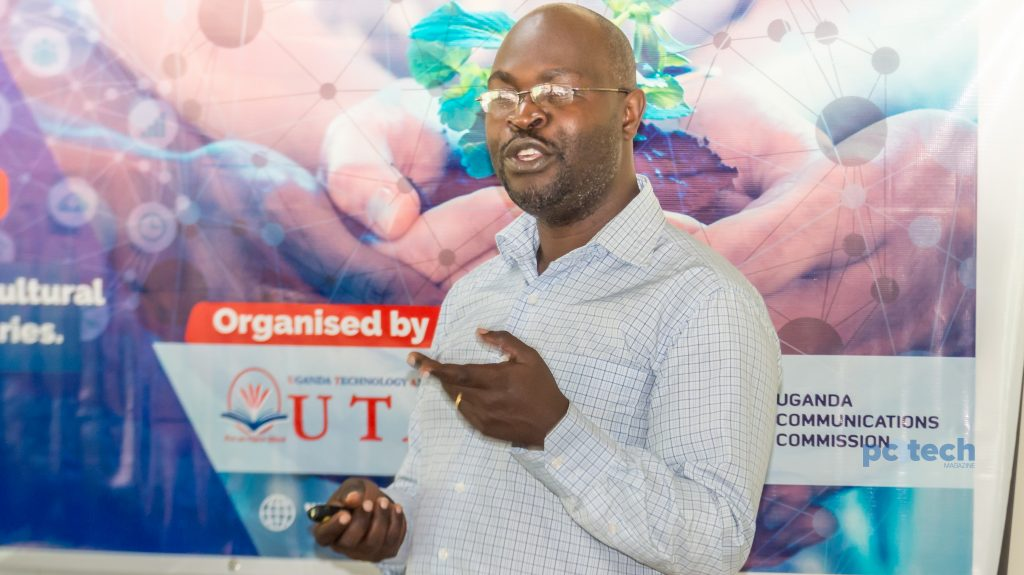 Dr. Drake Mirembe speaks to participating students for the UTAMU Agriculture hackathon at the UTAMU head campus in Bugolobi on Monday 30th, JUly 2018.