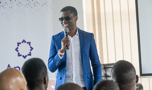 Elijah Kitaka, Co-Founder and CEO of Fezah keynotes at the first Andela Developers Conference hosted by Andela Uganda at their head offices in Bukoto on Saturday 28th, July 2018.