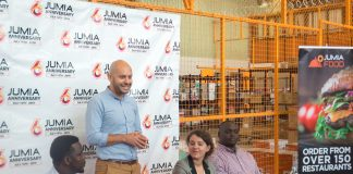 (L-R): Jumia Country Manager to Uganda; Ham Namakajjo, Jumia Regional Director to Uganda; Sefik Bagdadioglu, Jumia Chief Commerical Officer; Manon Salamon, and Jumia Uganda Chief Marketing Officer; Neville Igasira Igunduura, briefing the press at their newly unveiled warehouse on 5th street industrial area in Kampala Uganda on Wednesday 11th, July 2018.