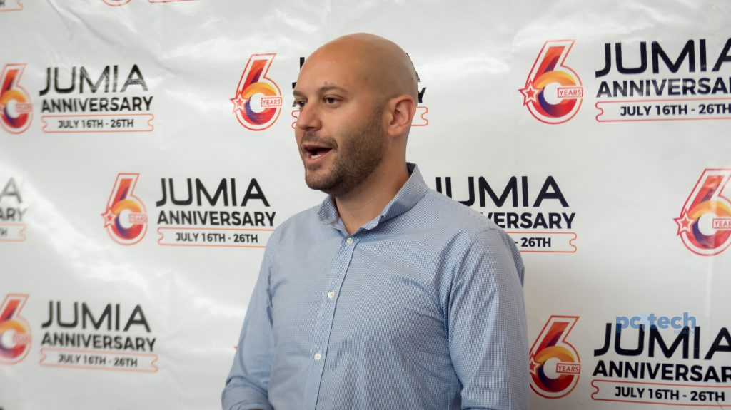 Sefik Bagdadioglu; Jumia's Regional Director to Uganda speaking to press at their Jumia anniversary brief at their newly unveiled warehouse on 5th street industrial area in Kampala Uganda on Wednesday 11th, July 2018.