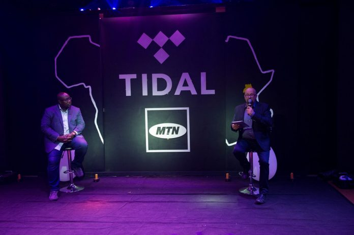 Jason Kpana (Left) the TIDAL SVP Artist & Label Relations and Olivier Prentout (Right) the MTN Uganda CMO at the launch of TIDAL & MTN Uganda Partnership.