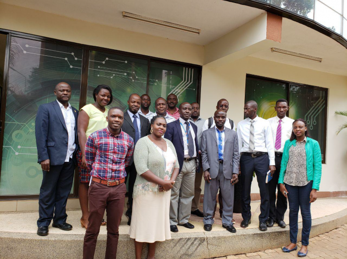 Officials from the pilot entities pose for a picture at the NITA-U offices on Friday 24th, August 2018.